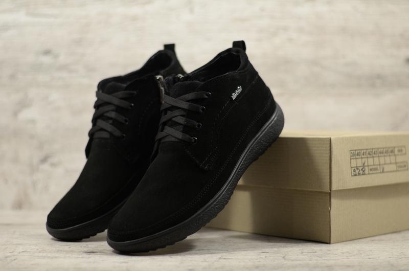Натуральная замша мужские зимние замшевые модельные ботинки на...