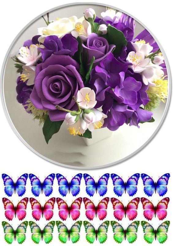 Вафельные картинки цветы на день рождения