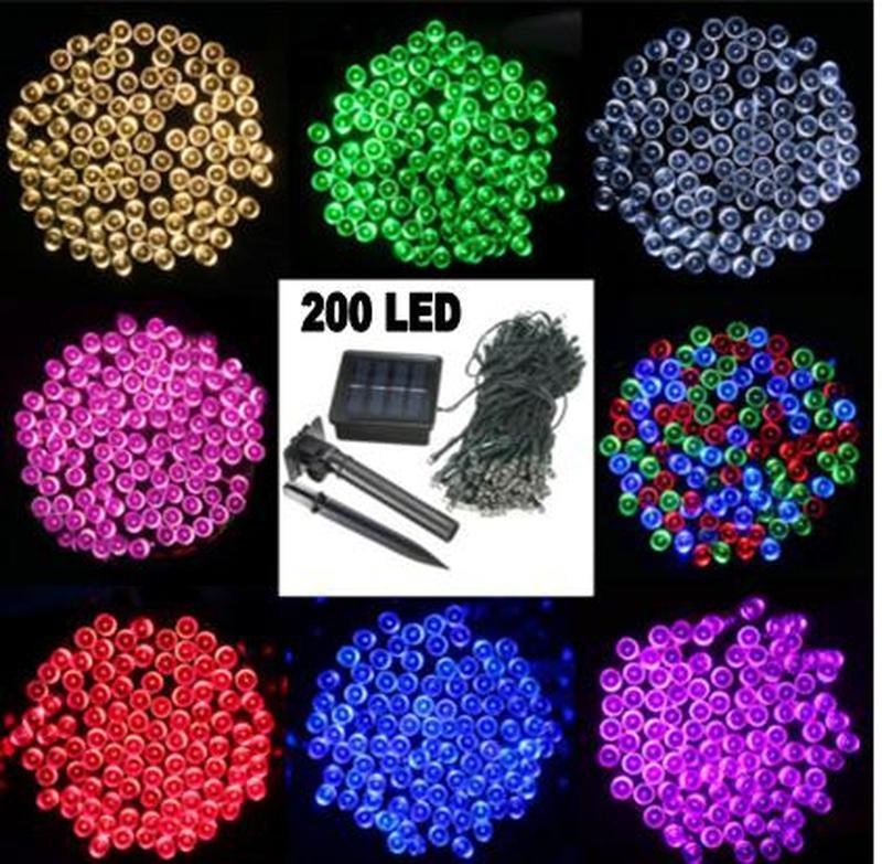Гирлянда на солнечной батарее 200 LED 22м разные цвета 8 режимов