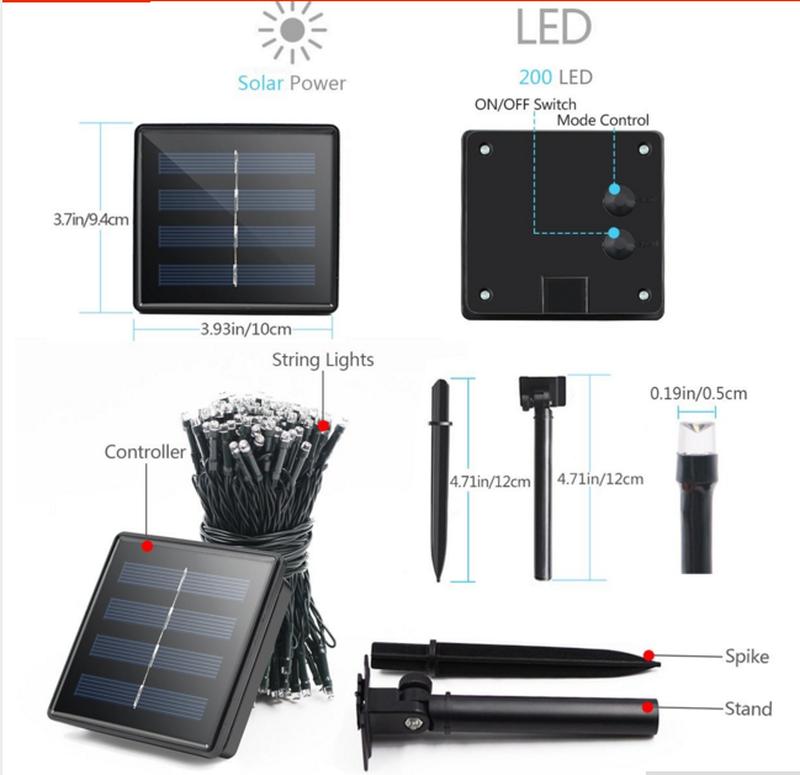 Гирлянда на солнечной батарее 200 LED 22м разные цвета 8 режимов - Фото 11