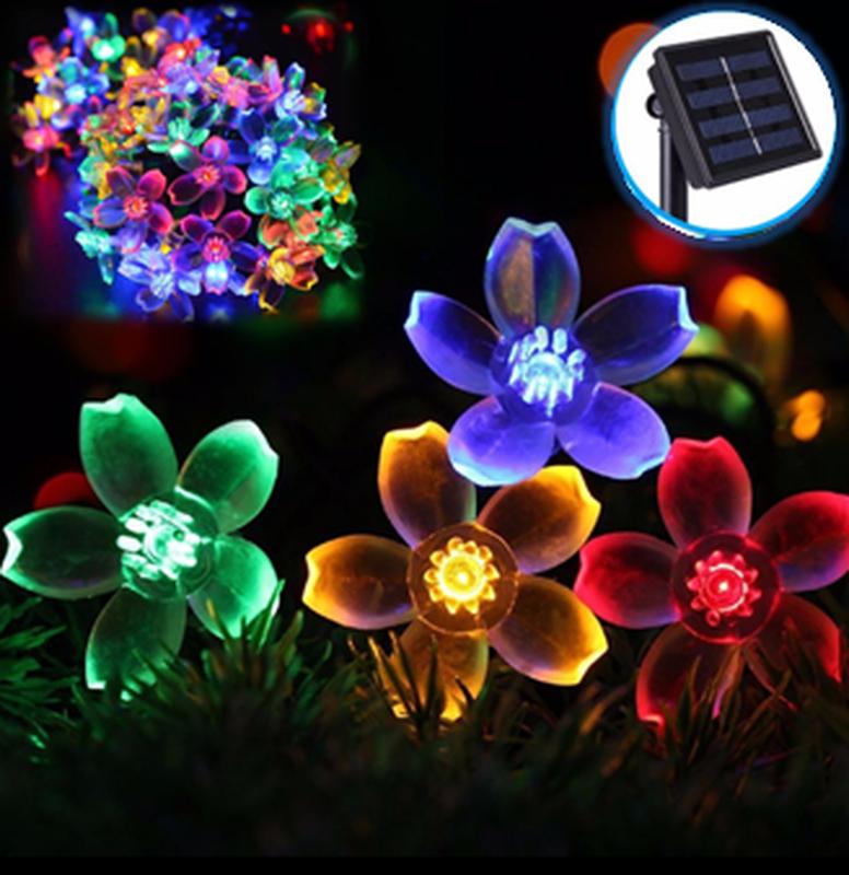 Гирлянда цветы на солнечной батарее 50LED 7м разные цвета 8 режим - Фото 8