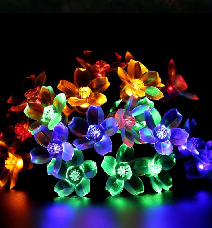 Гирлянда цветы на солнечной батарее 50LED 7м разные цвета 8 режим - Фото 6