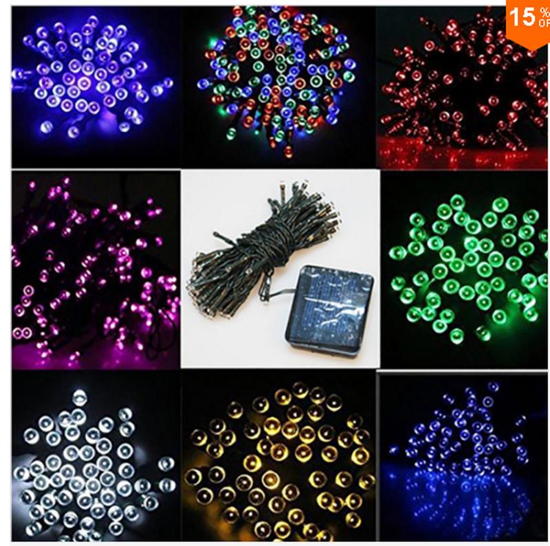 Гирлянда на солнечной батарее 100 LED 12м разные цвета 8 режимов