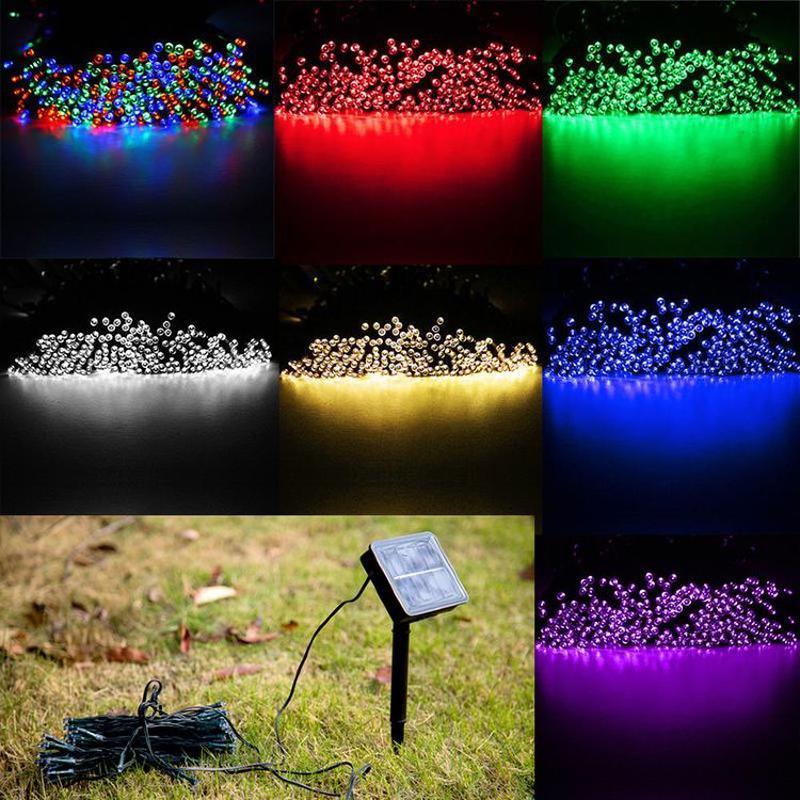 Гирлянда на солнечной батарее 100 LED 12м разные цвета 8 режимов - Фото 9