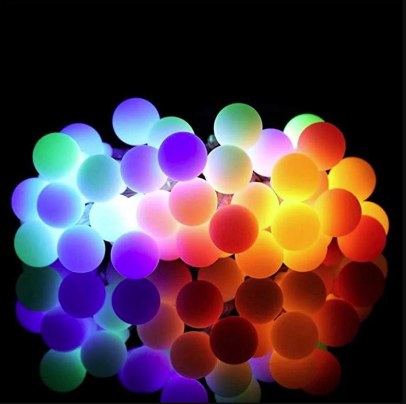 Гирлянда светильник Шарики на солнечной батарее 50LED 7м разные ц - Фото 2
