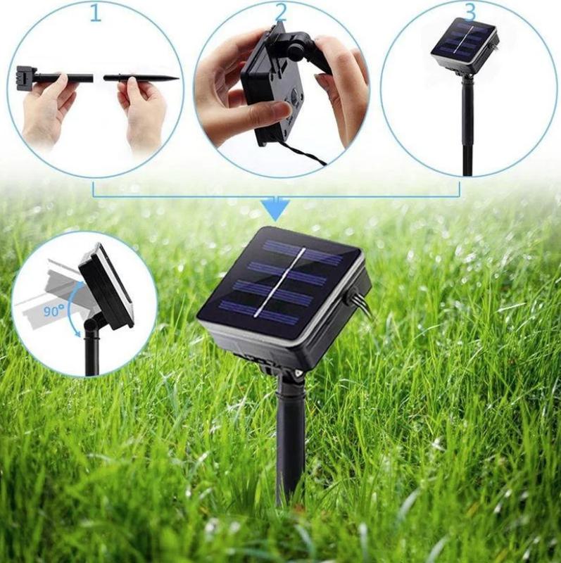 Гирлянда светильник Шарики на солнечной батарее 50LED 7м разные ц - Фото 15