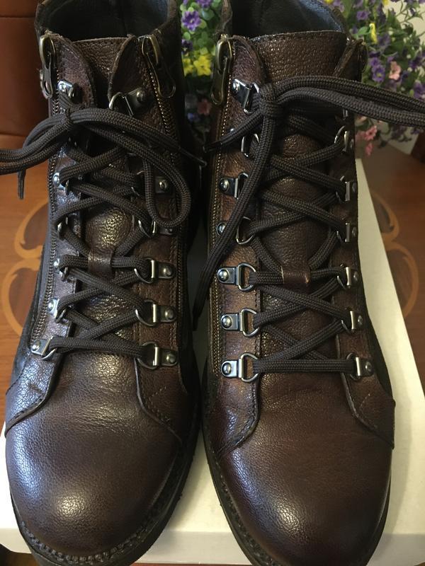 Кожаные итальянские высокие ботинки