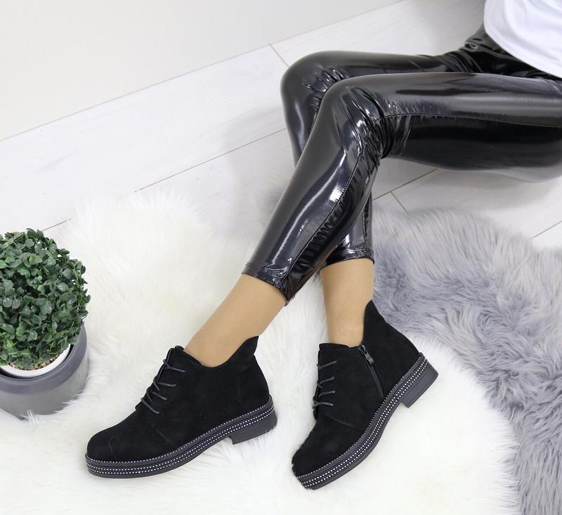 Новые шикарные женские черные осенние ботинки - Фото 3