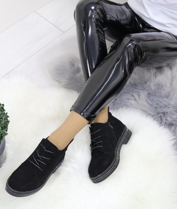 Новые шикарные женские черные осенние ботинки - Фото 4