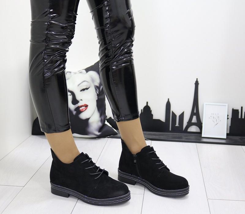 Новые шикарные женские черные осенние ботинки - Фото 5