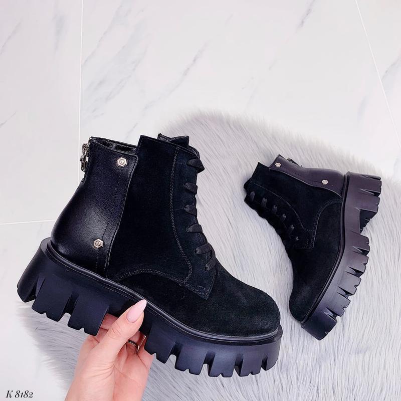 Повседневные короткие зимние ботинки на шнуровке, натуральная ...