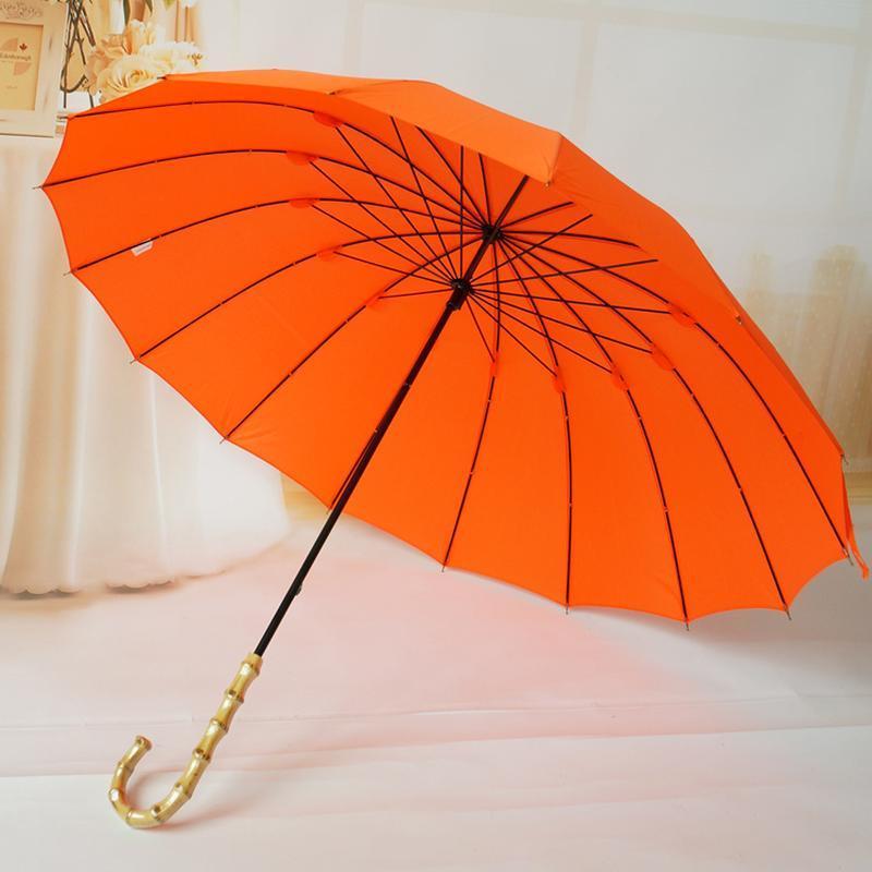 Зонт с бамбуковой ручкой