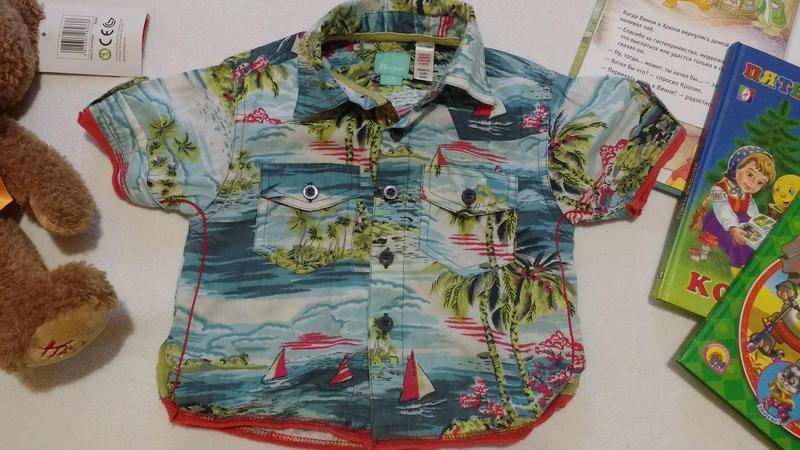 "Яркая рубашка - ""гавайка"" / тениска ""monsoon"", 6-12 месяцев"