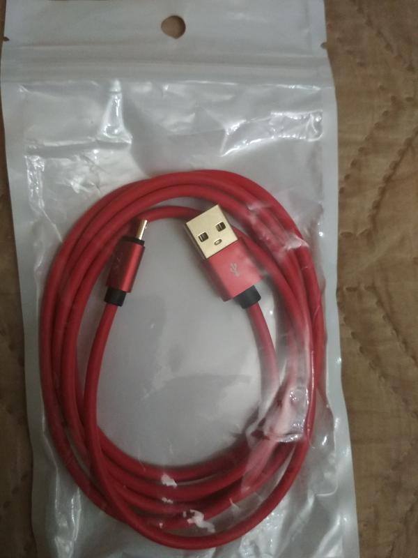 Micro USB кабель 1м цвет красный,зеленый нейлон,белый нейлон - Фото 2
