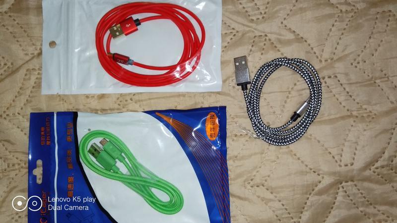 Micro USB кабель 1м цвет красный,зеленый нейлон,белый нейлон