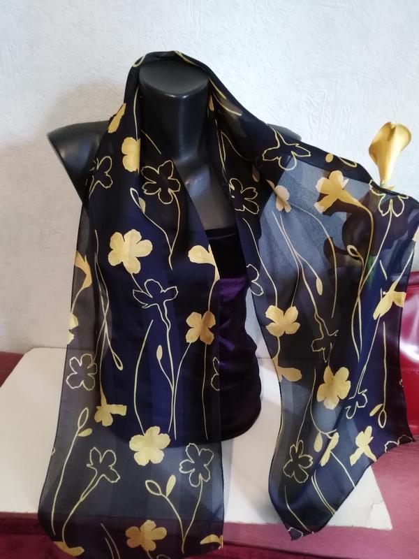 "Натуральный интересный шелк, шарфик""желтые цветы"", 156*30,"