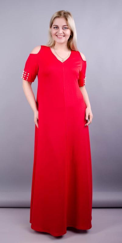 Размеры 56, 58, 60! платье в пол диана красное, большой размер...