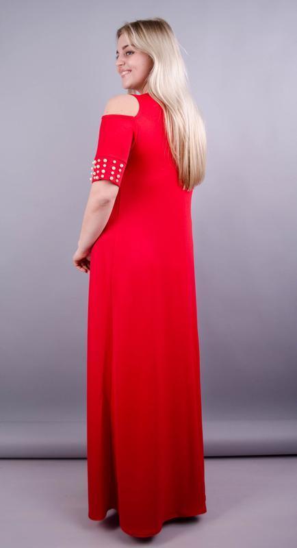 Размеры 56, 58, 60! платье в пол диана красное, большой размер... - Фото 3