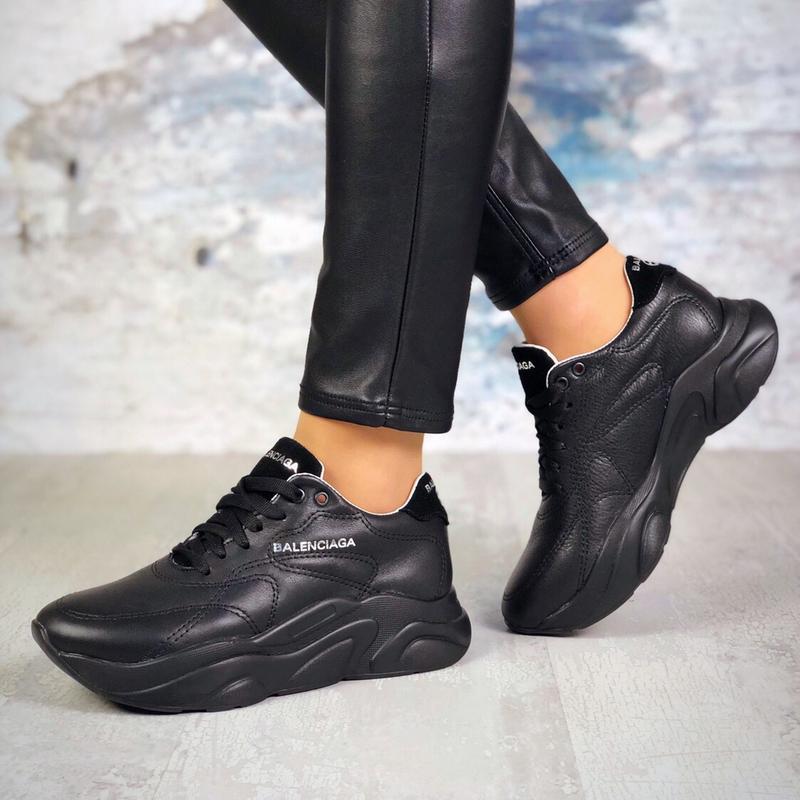 Натуральная кожа кожаные кроссовки на массивной подошве в стил...