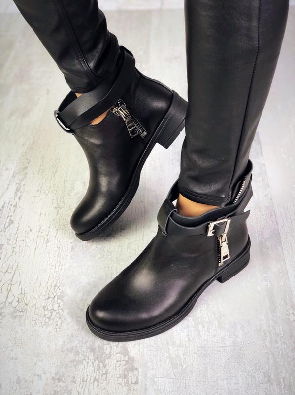 Натуральная кожа крутые кожаные осенние ботинки с ремешком