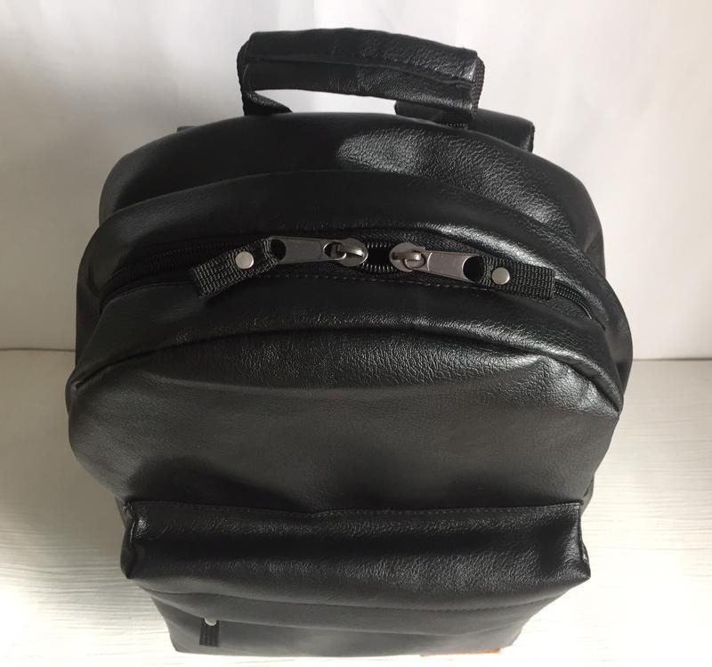 Городской рюкзак из экокожи черный - Фото 7