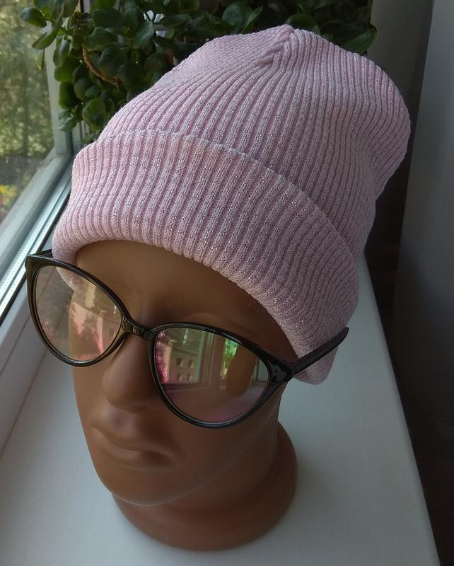 Новая красивая осенняя двойная шапочка с люрексом, розовая