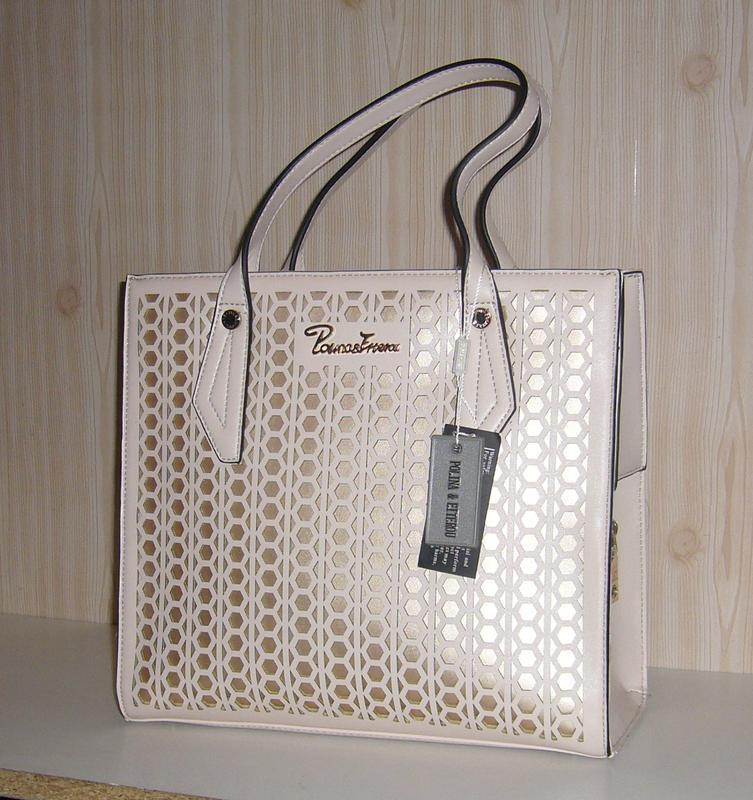 Бежевая летняя сумка с перфорацией polina & eiterou