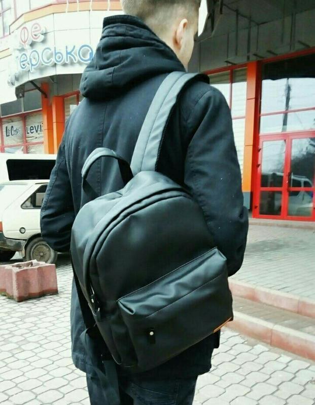 Городской рюкзак из экокожи черный - Фото 8