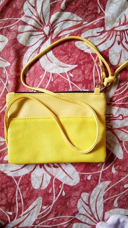 Сумка клатч женская желтая - Фото 4