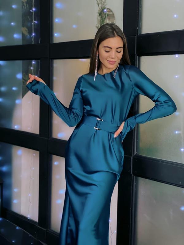 Шёлковое миди платье цвета морской волны с поясом - 590 ₴, купить на IZI (7939738)
