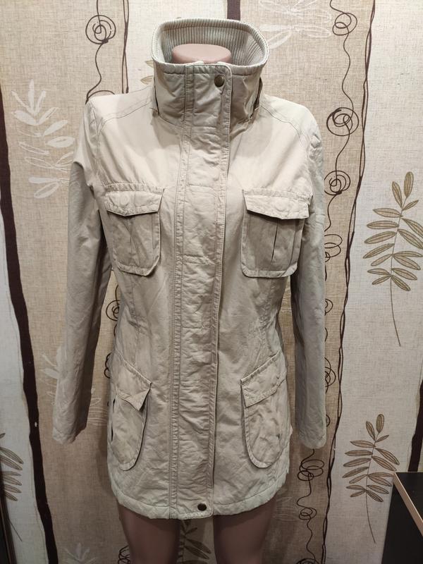 Marks & spencer бежевая удлинённая демисезонная куртка, ветровка