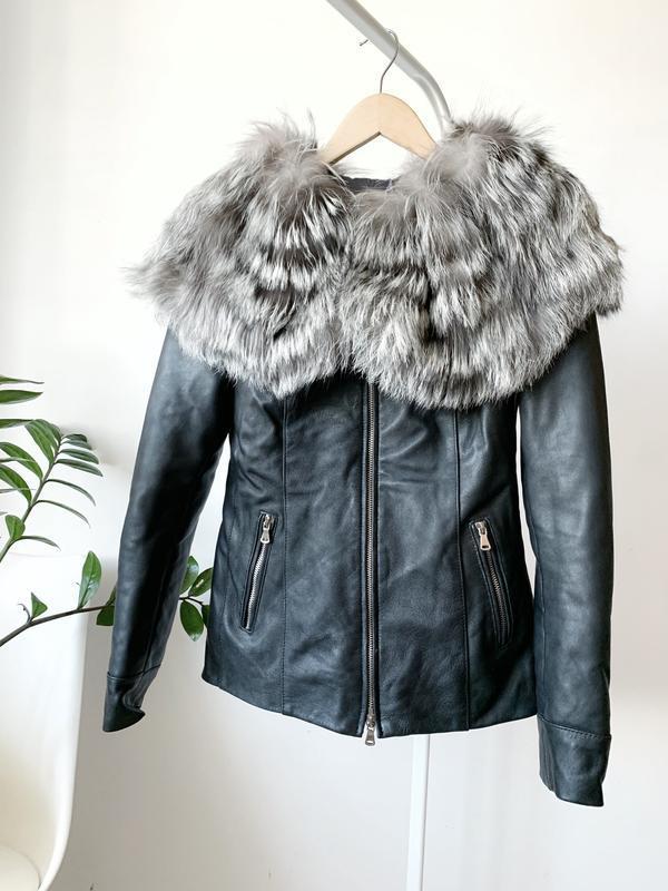Кожаная куртка с хутром чернобурки