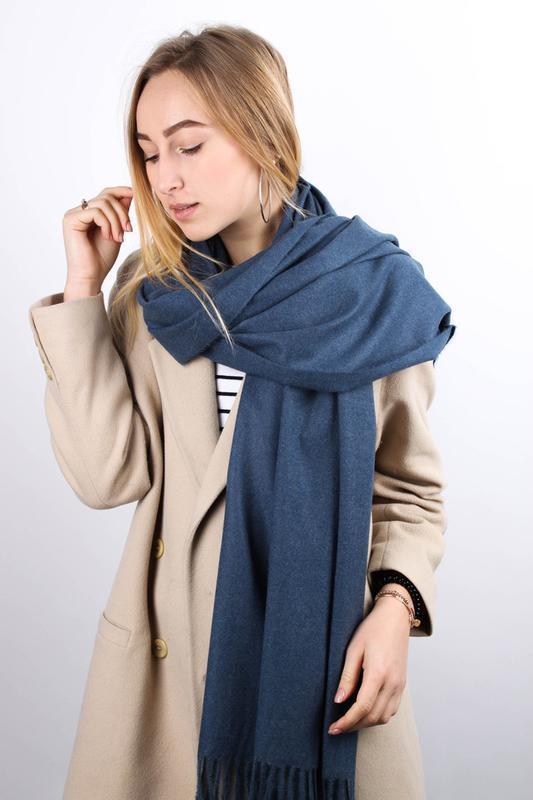 Теплый палантин шарф джинс в наличии