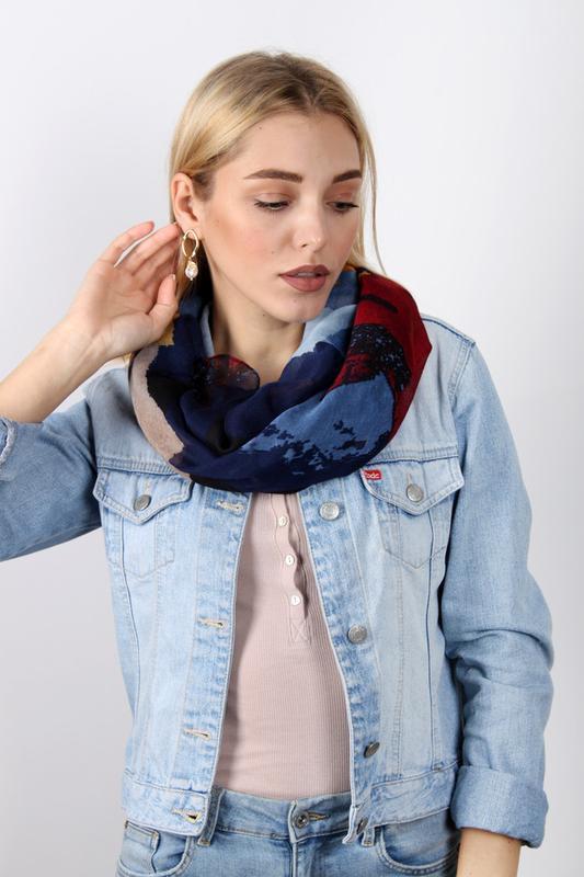 Яркий снуд круговой шарф хомут бордо синий в наличии - Фото 2