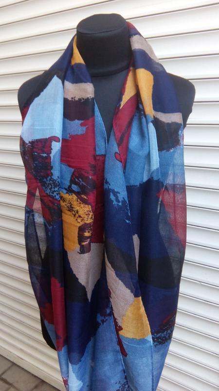 Яркий снуд круговой шарф хомут бордо синий в наличии - Фото 3