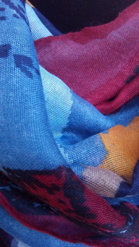 Яркий снуд круговой шарф хомут бордо синий в наличии - Фото 5