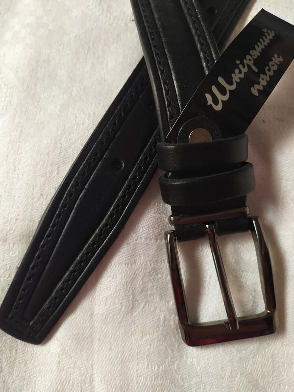 Детский подростковый кожаный пояс ремень черный прошитый в нал... - Фото 5