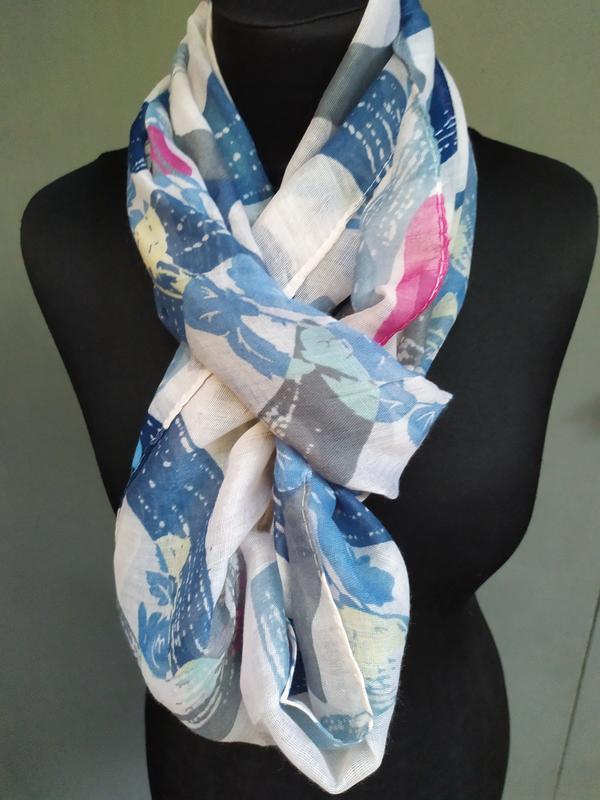 Небольшой снуд круговой шарф голубой молочный в наличии - Фото 4
