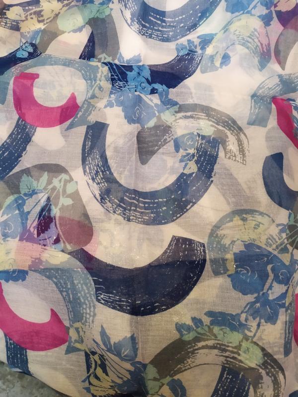 Небольшой снуд круговой шарф голубой молочный в наличии - Фото 5