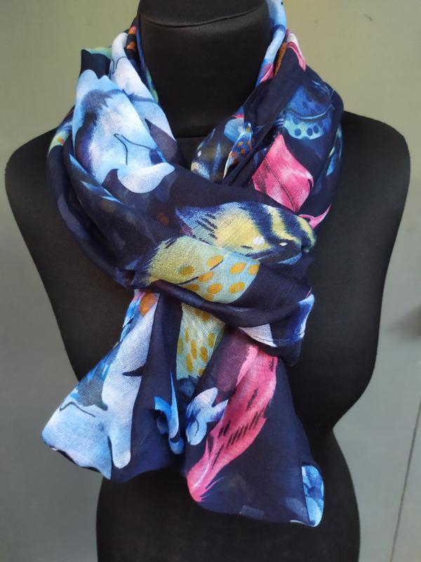 Небольшой снуд хомут круговой шарф индиго синий в наличии - Фото 2