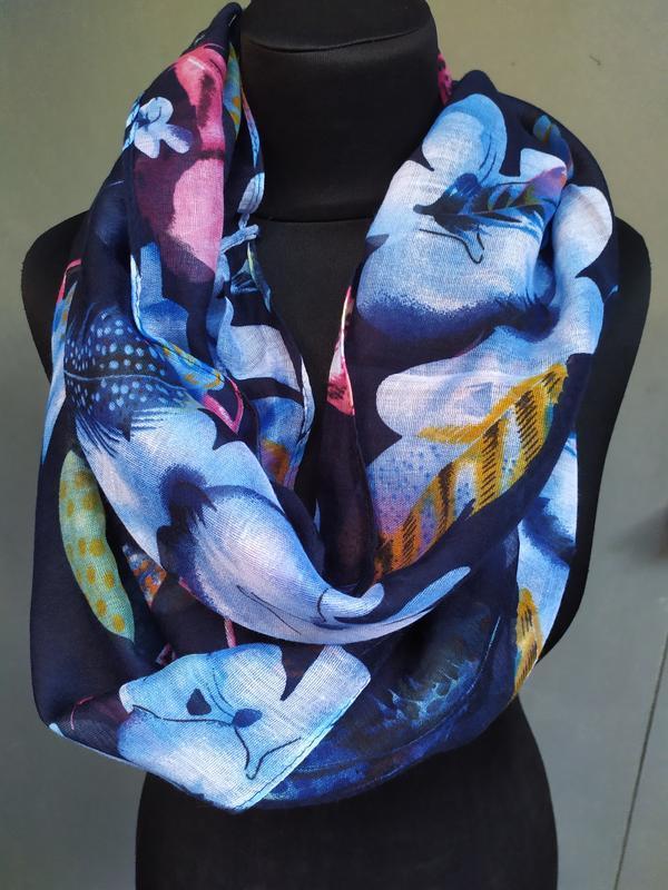 Небольшой снуд хомут круговой шарф индиго синий в наличии - Фото 8