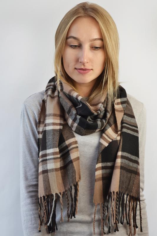 Теплый шарф унисекс бежевая клетка в наличии
