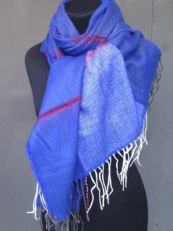 Теплый палантин шаль шарф плед синий электрик двухсторонний в ...