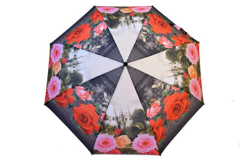 Зонт полный автомат 8 спиц цветочный мотив серый с розами в на...