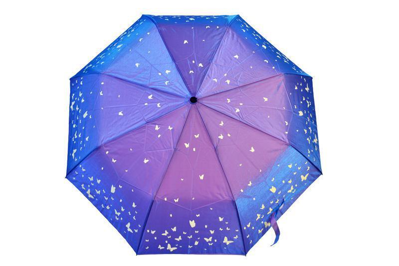 Зонт хамелеон бабочки сиреневый с голубым переливом в наличии