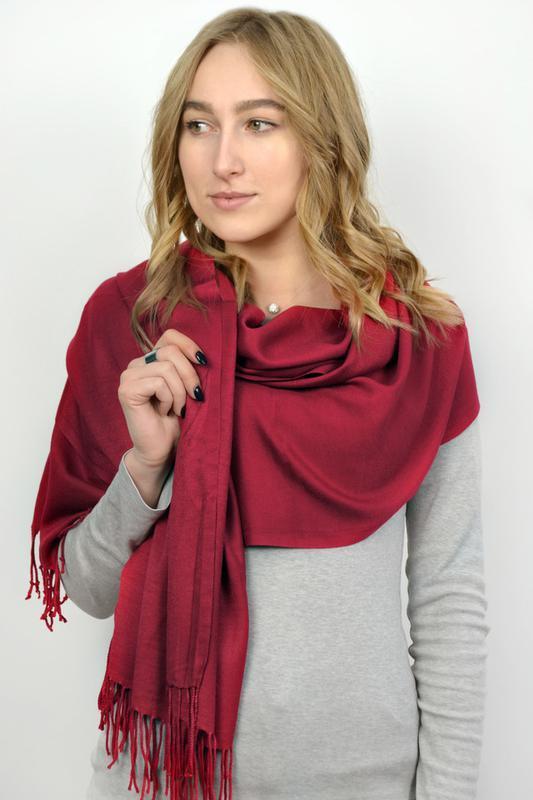 Палантин широкий шарф пашмина вишня в наличии