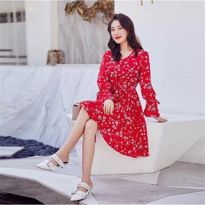 Красный сарафан платье в цветочек
