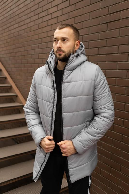 Мужская зимняя серебристая длинная куртка ???? теплая куртка до -...