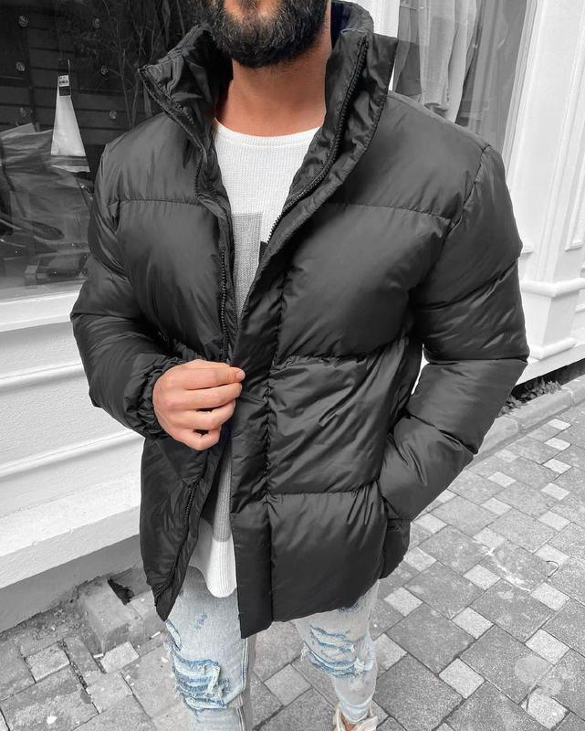 Мужская зимняя куртка оверсайз черного цвета - Фото 4
