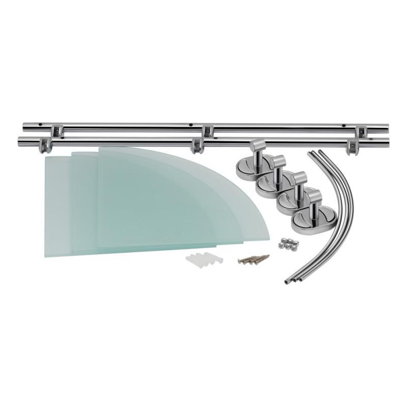 Стеклянная полочка для ванной комнаты 3-х ярусная угловая Lidz (C - Фото 4